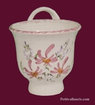 CERAMIC FUNNEL JAM WITH PINK FLOWERS DECOR