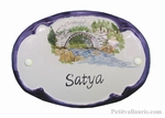 OVAL DOOR PLAQUE WITH RIVER+ BRIDGE AND MOUNTAIN PANTING