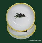 CERAMIC WHITE ROUND CUPEL DENTEL BLACK OLIVES DECOR