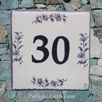 HOME NUMBER PLAQUE BLUE FLOWER TRADITION DECOR TEXT HORIZ
