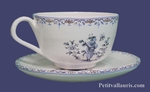 TEA-CUP AND UNDER CUP BLUE OLD MOUSTIERS TRADITION DECOR