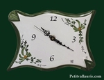 FAIENCE WALL CLOCK PARCHMENT MODEL GREEN FLOWERS PAINT