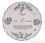 BLUE COLOR MARRIAGE PLATE MODEL WITH POEM PEARL WEDDING