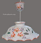 CERAMIC CHANDELIER DECOR RED FLOWERS DIAMETER 37 CM