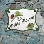 PLAQUE DE MAISON FAIENCE PARCHEMIN DECOR COCCINELLES