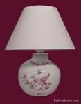 LAMPE DE CHEVET FAIENCE BLANCHE REPRODUCTION MOUSTIERS ROSE
