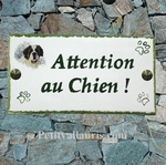 PLAQUE FAIENCE RECTANGLE DECOR CHIEN BERGER PYRENEES