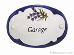 PLAQUE OVALE DE PORTE DECOR LAVANDE TEXTE GARAGE