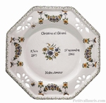 CERAMIC WEEDING PLATE OCTAGONAL MODEL TRADITIONAL  DECOR