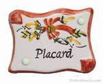 PARCHMENT DOOR PLAQUE RED FLOWERS PLACARD INSCRIPTION