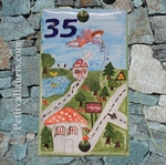 CERAMIC HOUSE PLAQUE FAIENCE WITH CHILDREN PATTERN