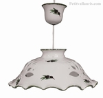 CERAMIC SUSPENSION WHITE COLOR AND OLIVE DECOR DIAMETER 37