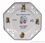 LITTLE CUSTOMIZED BIRTH PLATE FOR BOY + BEAR CUB DECORATION