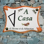 CERAMIC HOUSE PLAQUE PARCHMENT WITH CORSE ISLAND PICTURE