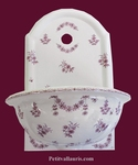 FAIENCE WALL FOUNTAIN HAND WASHING PINK FLOWER TRADITION DEC