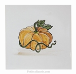 HAND MADE EARTENWARE WALL TILE DECOR WITH PUMPKIN PATTERN