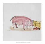 HAND MADE EARTENWARE WALL TILE WITH PIG FARM ANIMAL PATTERN