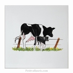 HAND MADE EARTENWARE WALL TILE WITH COW FARM ANIMAL PATTERN
