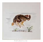 HAND MADE EARTENWARE TILE WITH FAUNA RIVER THE BROCHET DECOR