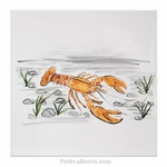 HAND MADE EARTENWARE TILE WITH FAUNA RIVER CRAYFISH DECOR
