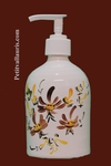 CERAMIC LIQUID SOAP DISPENSER BROWN FLOWERS DECORATION