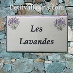 CERAMIC HOUSE PLAQUE RECTANGLE MODEL LAVENDERS BUNCH DECOR