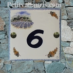 HOME NUMBER PLAQUE MIMOSAS BRANCH AND COTTAGE SIZE 15 X 15
