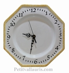 WHITE FAIENCE WALL CLOCK WITH YELLOW-OCHRE BORDER
