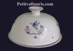 CLOCHE A FROMAGE + ASSIETTE EN FAIENCE DECOR TRADITION BLEU