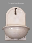 FAIENCE WALL FOUNTAIN HAND WASHING ENAMELLED BEIGE COLOR