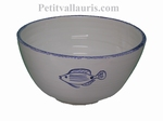 SALAD BOWL LARGE SIZE HAND MADE BLUE FISCH DECORATION