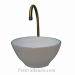 SMALL EARTHENWARE  BASIN BOWL FORM WHITE COLOR +BLUE BORDER