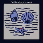 EARTHENWARE WALL TILE COLLECTION NAVY SHELLS DECORATION