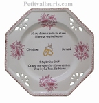 BIG CERAMIC MARRIAGE PLATE OCTAGONAL MODEL WITH GOLD POEM