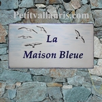 PLAQUE DE MAISON FAIENCE RECTANGLE DECOR LES GOELANDS