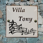 HOME ADDRESS PLAQUE CERAMIC 23 X 23 MUSIC NOTES DECORATING