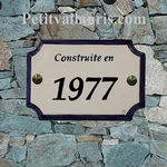 PLAQUE DE MAISON FAIENCE RECTANGLE STYLE BORD ET TEXTE BLEU