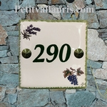 CERAMIC HOME NUMBER PLAQUE VINE GRAPP + LAVANDER DECOR