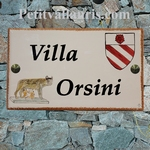 CERAMIC HOUSE PLAQUE FAIENCE WITH CUSTOMIZED ARMS