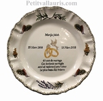PROVENCE PATERN MARRIAGE PLATE WITH POEM DIAMOND WEDDING
