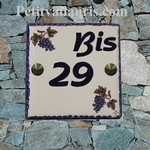 CERAMIC HOME CUSTOMIZED NUMBER PLAQUE VINE GRAPP  DECOR