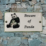 PLAQUE DE MAISON EN CERAMIQUE MODELE RECTANGLE DECOR PANDA