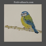 HAND MADE EARTENWARE TILE WITH BIRD BLUE TIT PATTERN