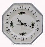 HORLOGE  MURALE FAIENCE BLANCHE BORD GRIS MOTIF OLIVES