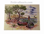 FRESQUE MURALE FAIENCE DECOR PAYSAGE CALANQUES JAUNE-CLAIR