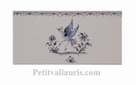 DECOR OISEAU BLEU 5204 + FRISE SUR CARREAU FAIENCE 10 X20
