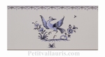 DECOR OISEAU BLEU 5197 + FRISE SUR CARREAU FAIENCE 10 X20