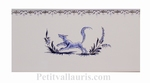 DECOR RENARD BLEU 2960 + FRISE SUR CARREAU FAIENCE 10 X20