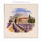 GARLABAN MOUNTAIN AND LAVANDER DECOR ON TILE SIZE 10 X 10