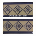 TILE 15X7,5 CM ARABESQUE BLUE MODEL AND CREAM FAIENCE COLOR